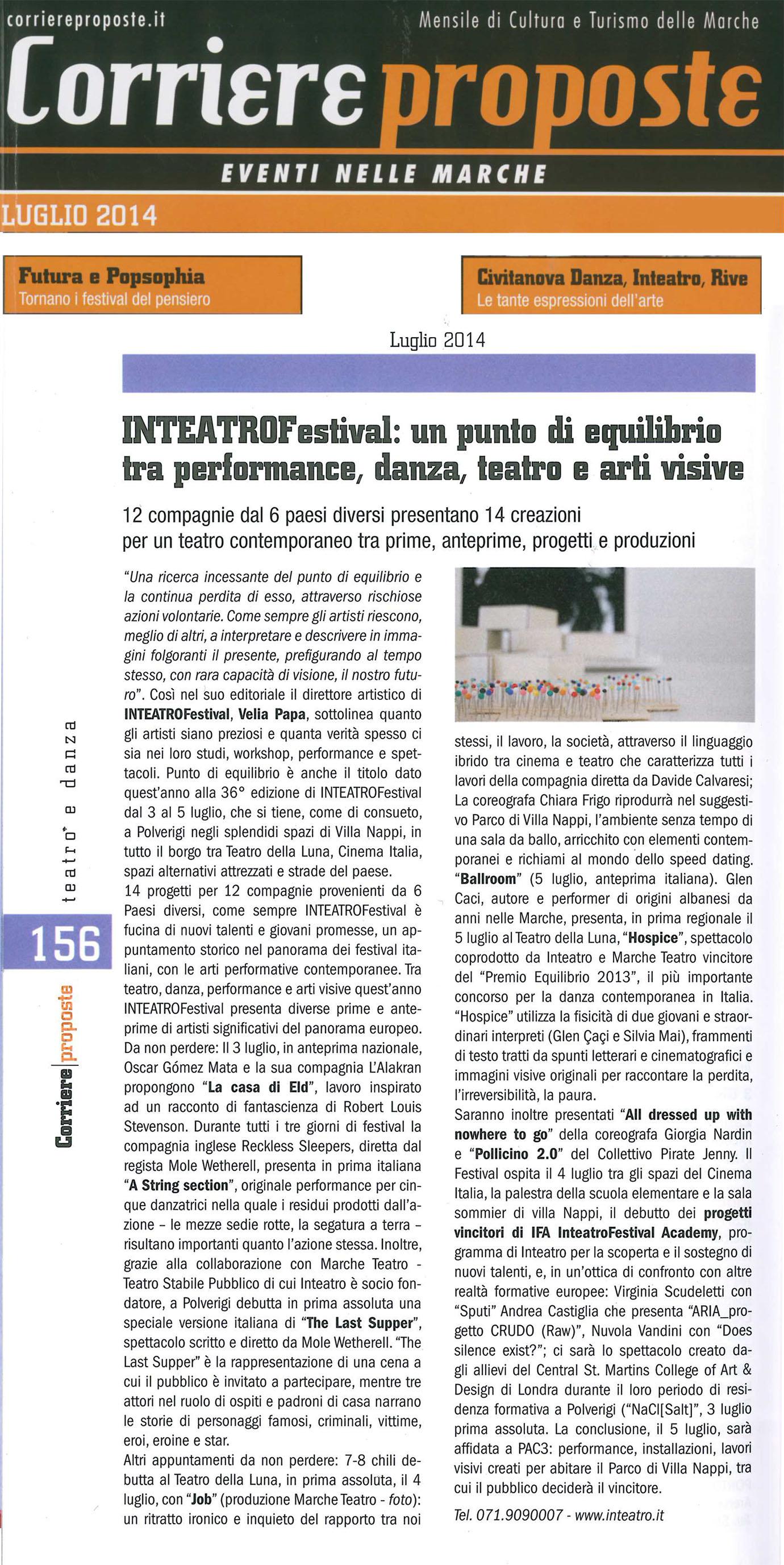 2014.07.01 INTEATROFESTIVAL un punto di equilibrio tra performance, danza teatro e arti visive - Corriere Proposte
