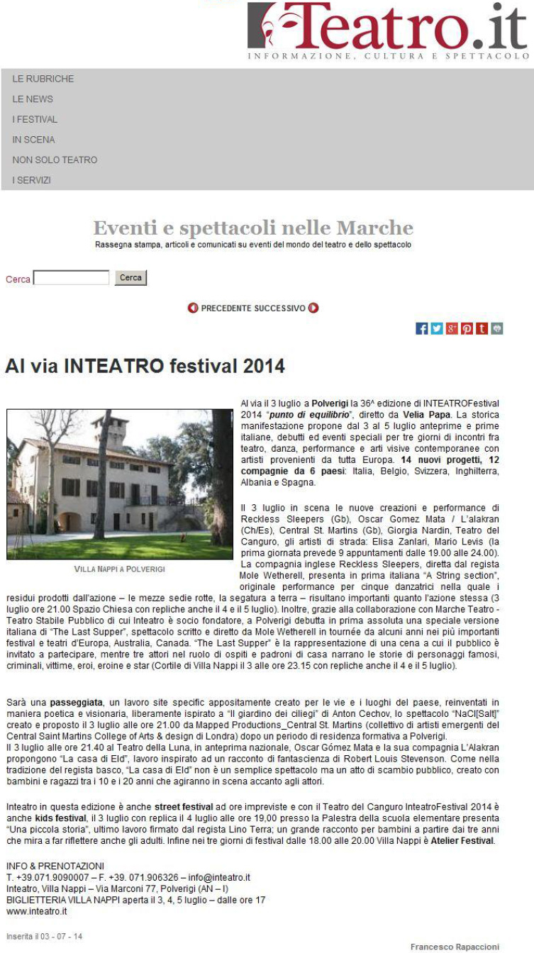 2014.07.03 Al via Inteatro festival - teatro.it