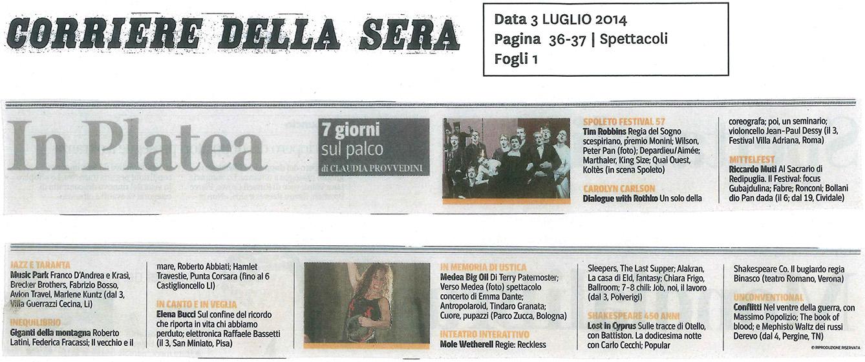 2014.07.03 In Platea - Corriere della Sera