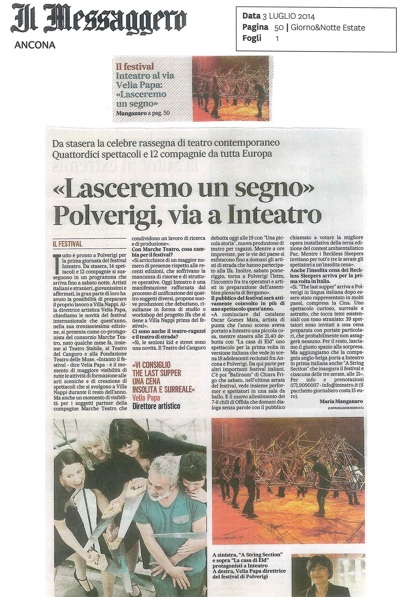 2014.07.03 'Lasceremo un segno' Polverigi, via a Inteatro - Il Messaggero