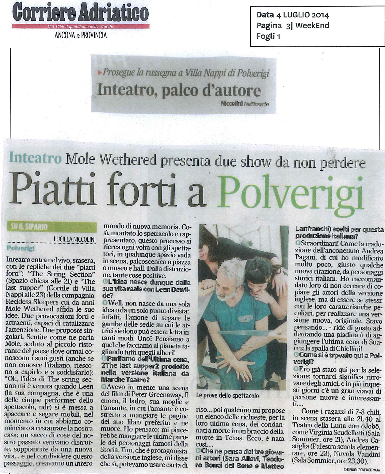 2014.07.04 Piatti forti a Polverigi - Corriere Adriatico