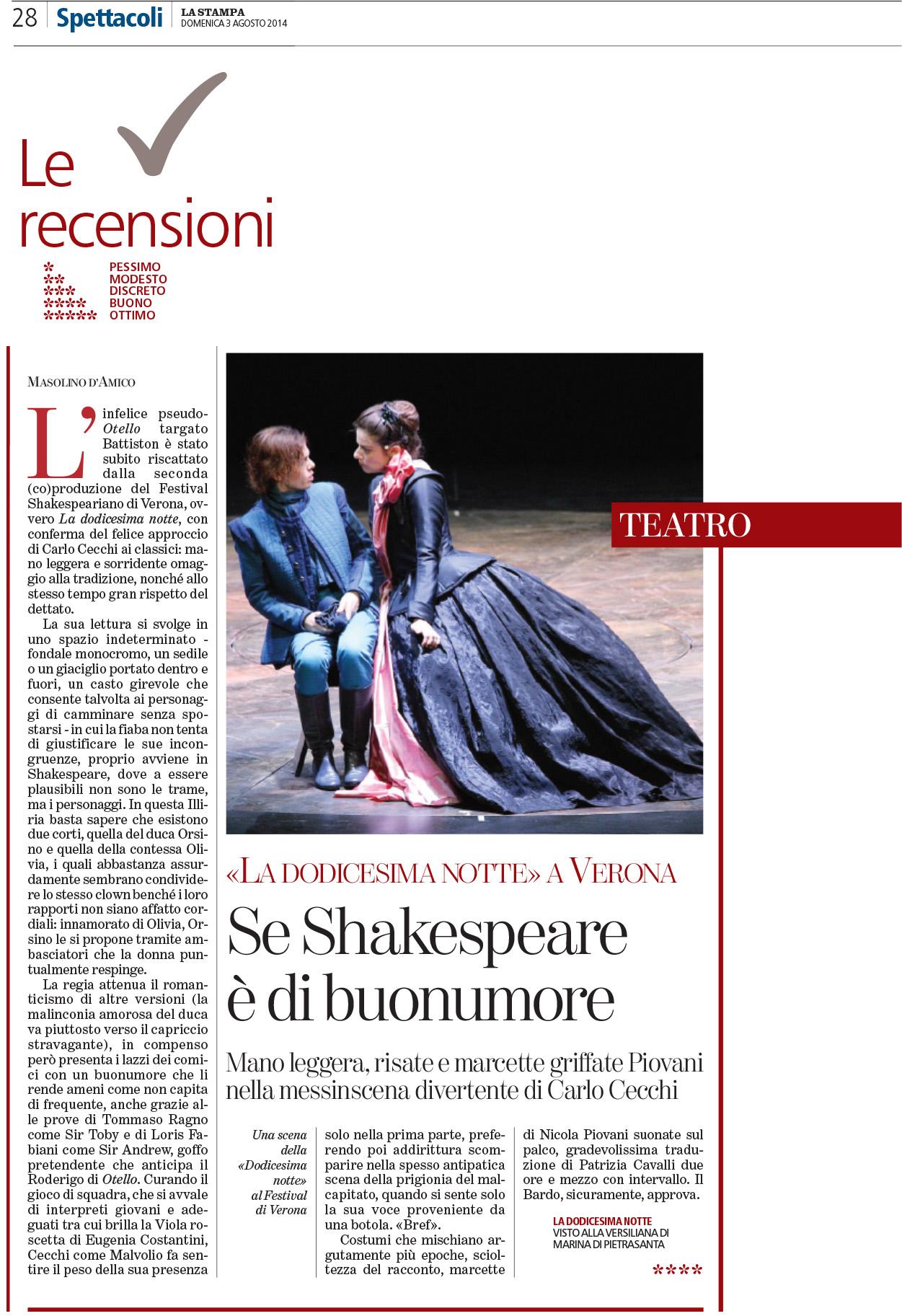 2014.08.03 Se Shakespeare è di buonumore - La Stampa