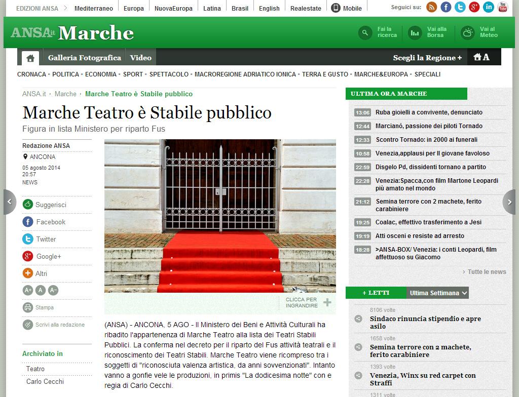 2014.08.05 Marche Teatro è Stabile pubblico - ansa.it