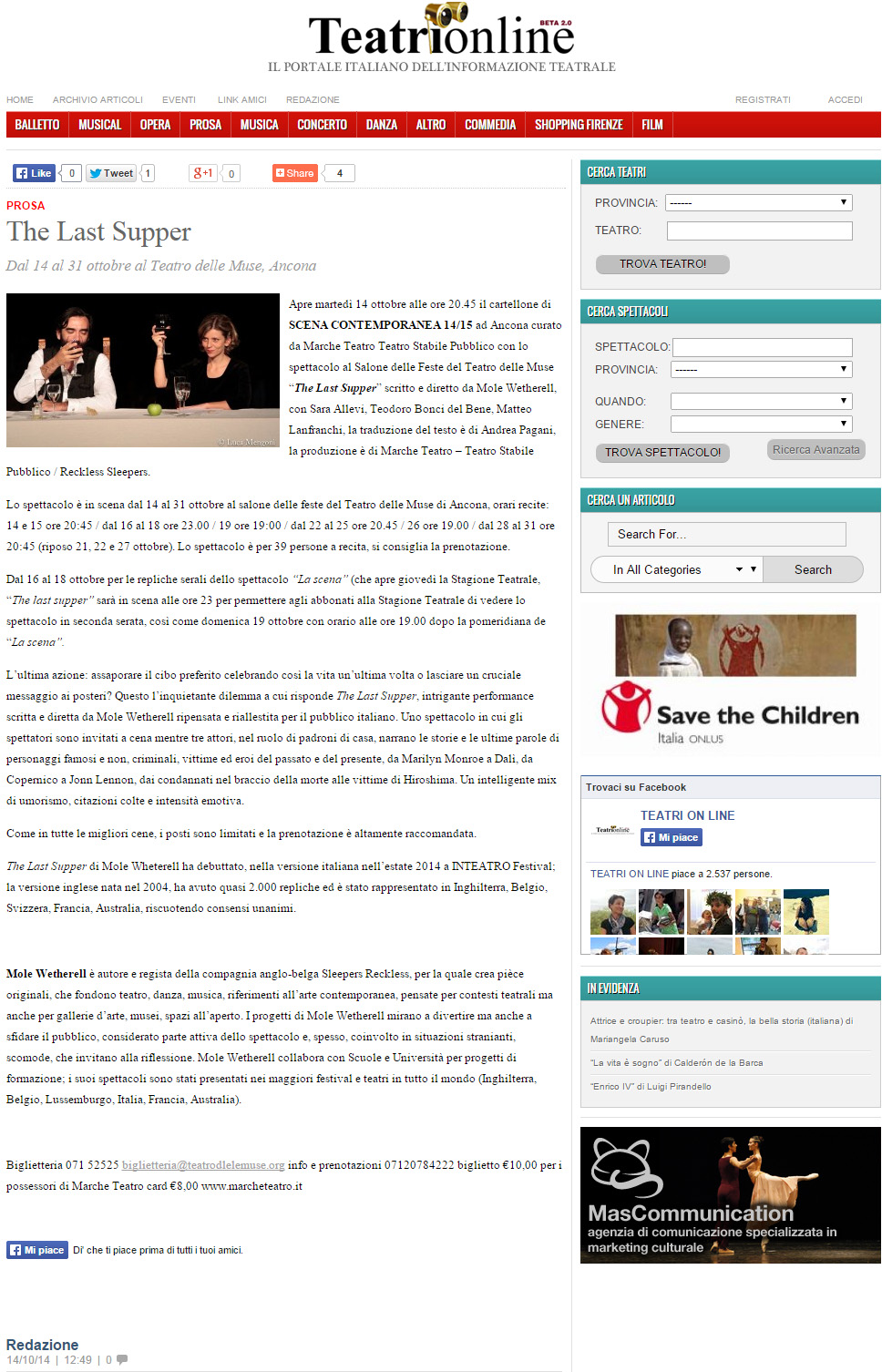 2014.10.14 the last supper - teatrionline.com