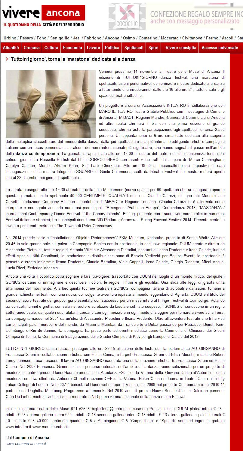 2014.11.12 'tuttoin1giorno' torna la maratona dedicata alla danza