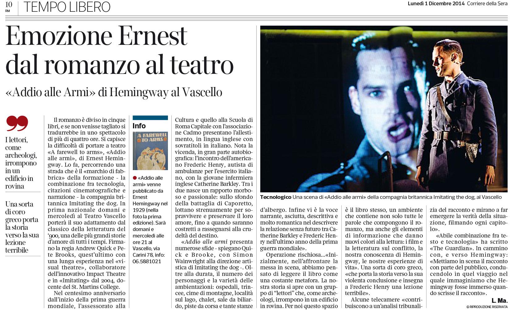 2014.12.01 Emozione Ernest dal romanzo al teatro - Corriere della Sera