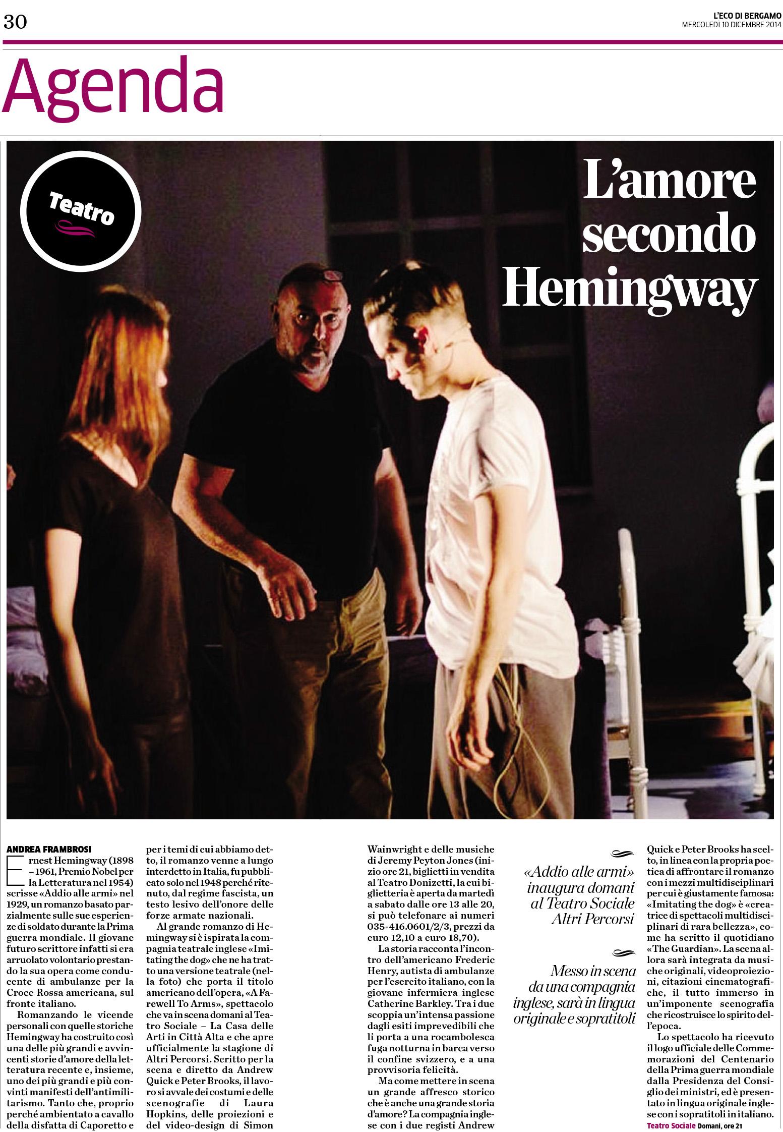2014.12.10 L'amore secondo Hemingway - Eco di Bergamo
