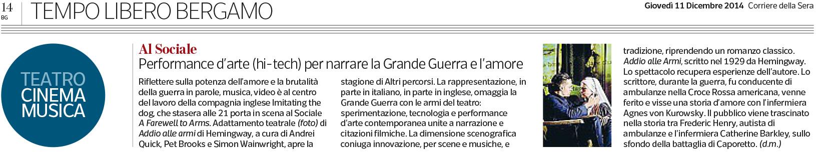 2014.12.11 Performance d'arte hi-tech per narrare la grande guerra - Corriere della Sera