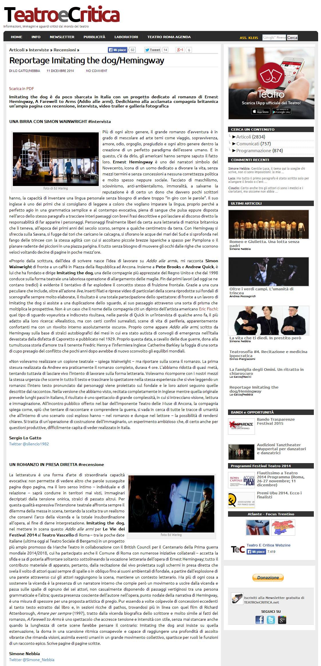 2014.12.11 reportage imitating the dog - teatroecritica.net