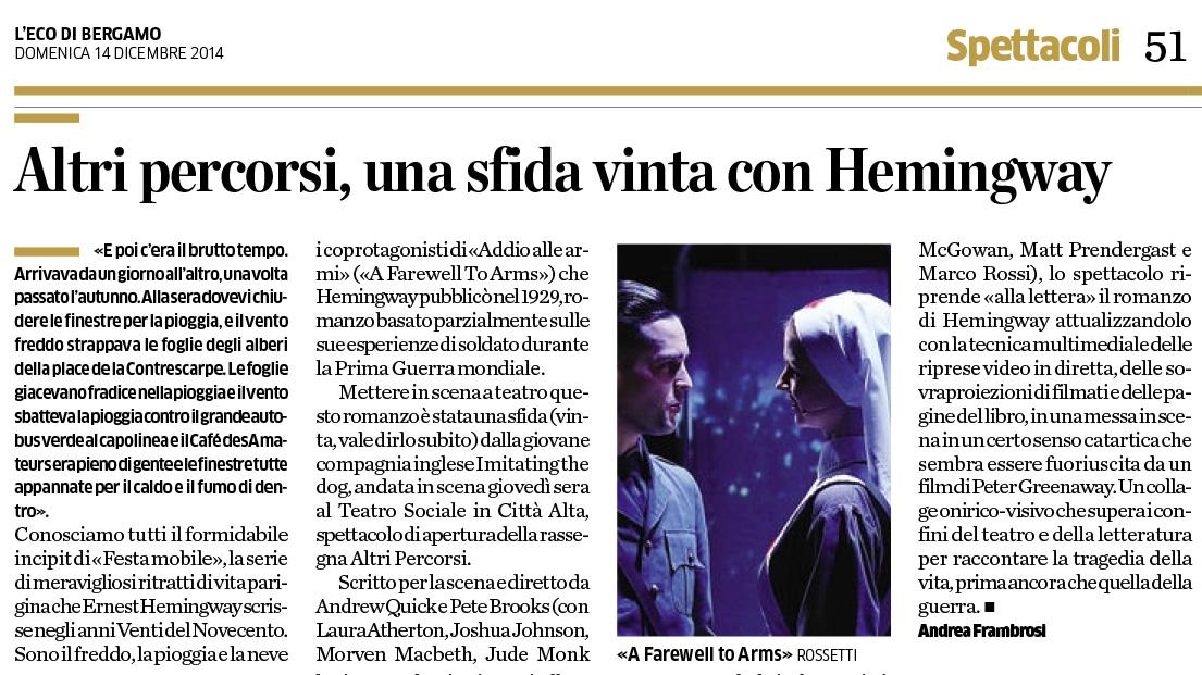 2014.12.17 Altri percorsi, una sfida vinta con Hemingway - Eco di Bergamo