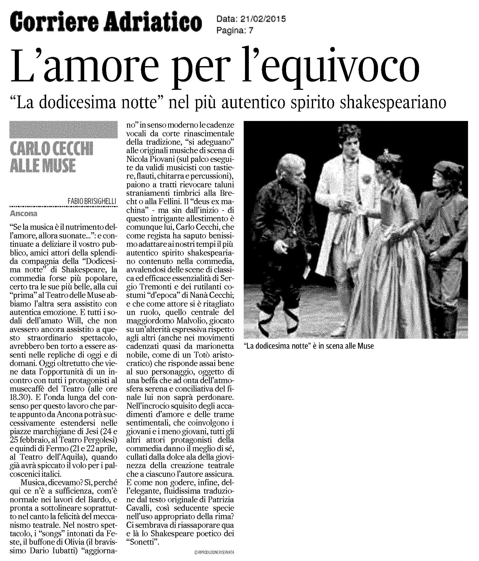 2015.02.21 L'amore per l'equivoco - Corriere Adriatico