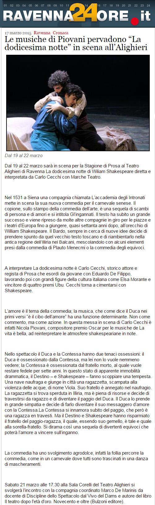 2015.03.17 Le musiche di Piovani pervadono la dodicesima notte in scena all'alighieri - ravenna24ore.it