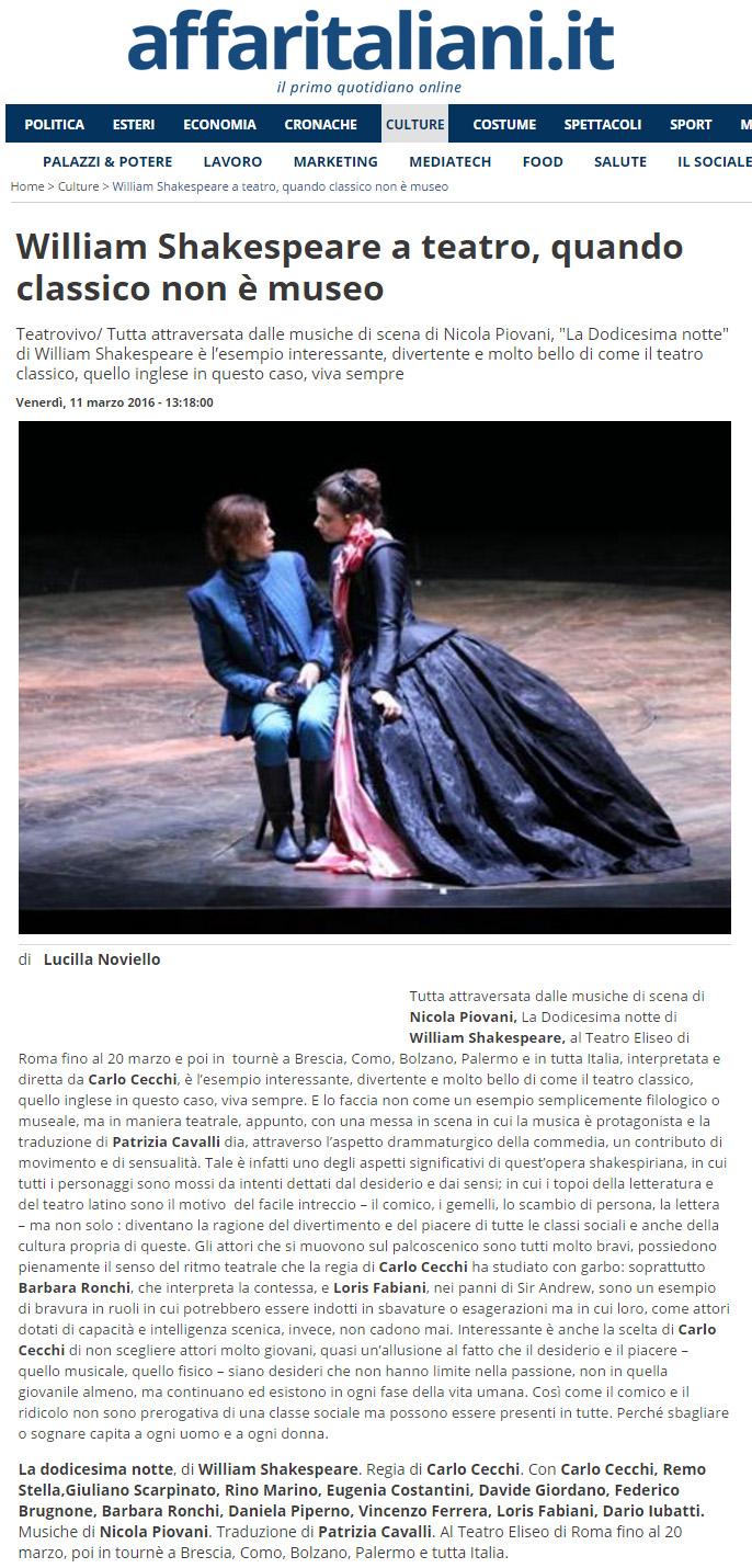 2016.03.11 William Shakespeare a teatro, quando classico non è museo - affaritaliani.it