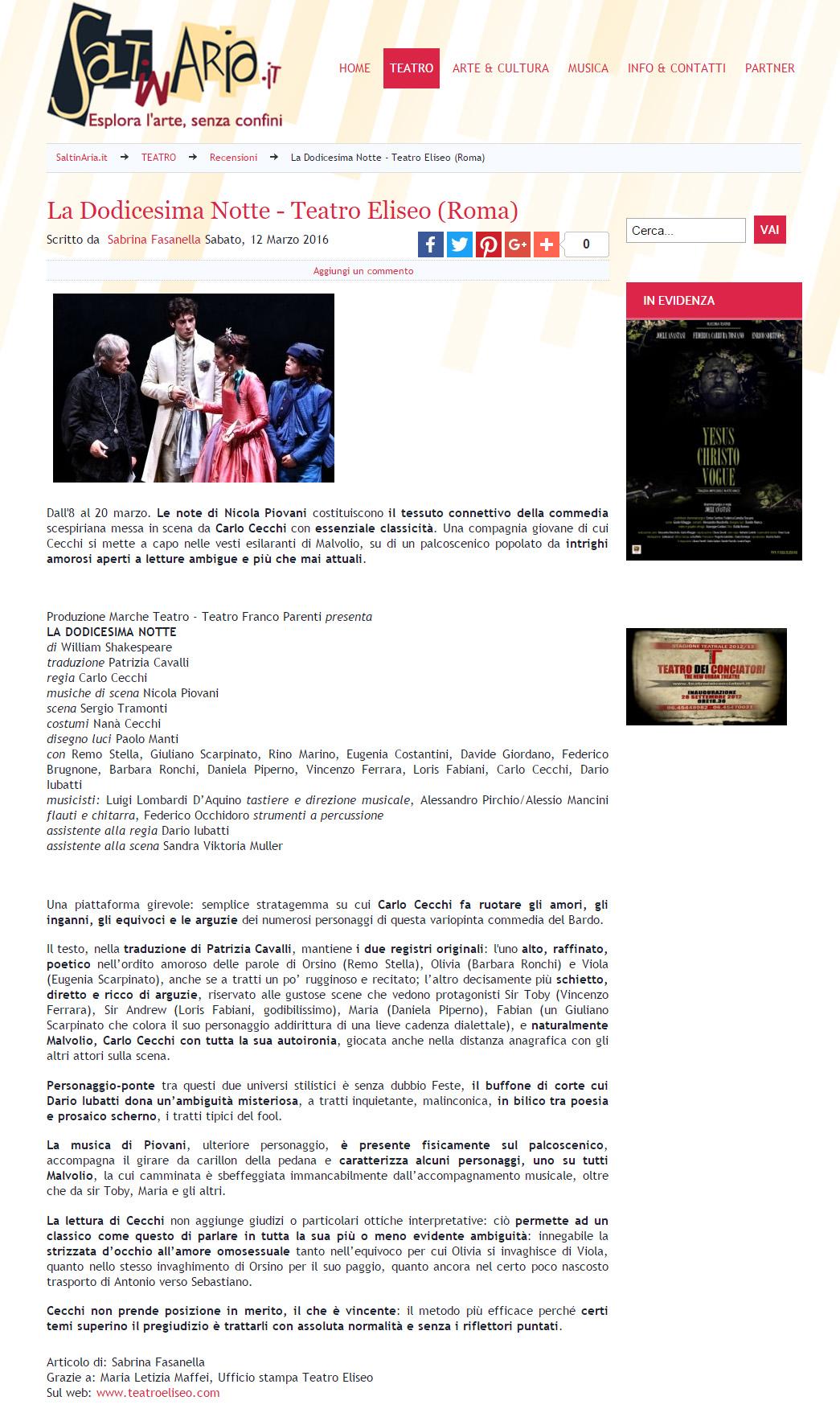 2016.03.12 La dodicesima notte, Teatro Eliseo - saltinaria.it