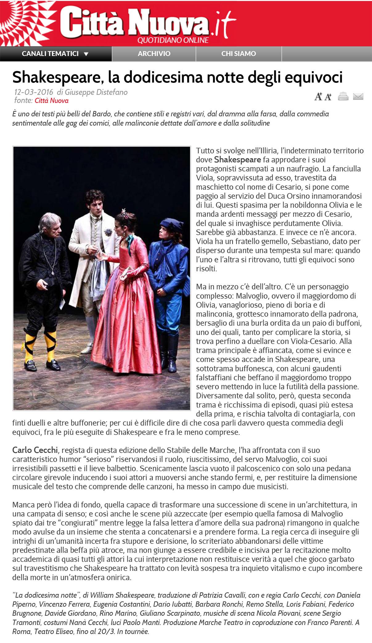 2016.03.12 Shakespeare, la dodicesima notte degli equivoci - cittanuova.it