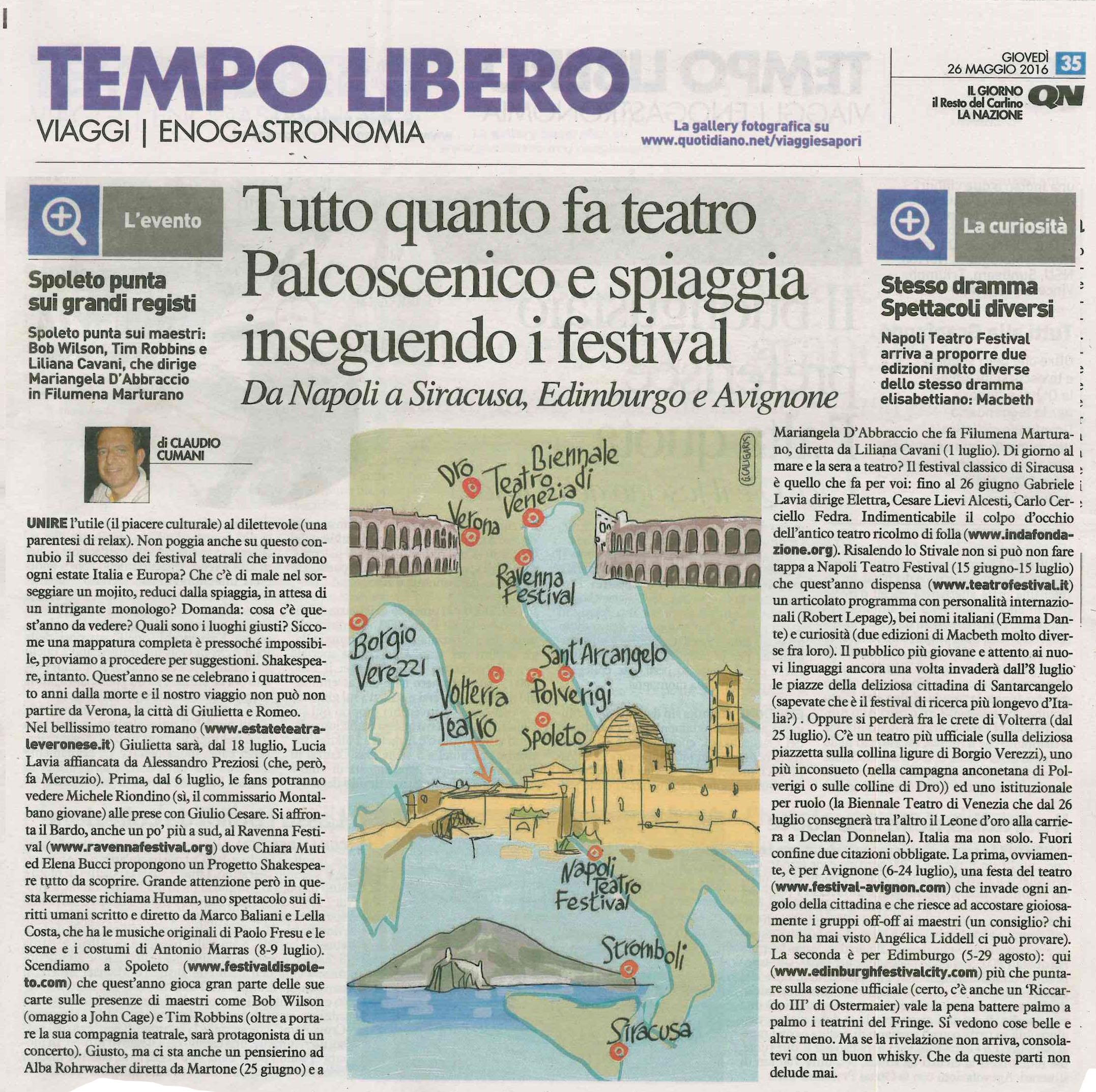 2016maggio26_tempo libero il resto del carlino_Tutto quanto fa teatro Palcoscenico e spiaggia inseguendo i festival