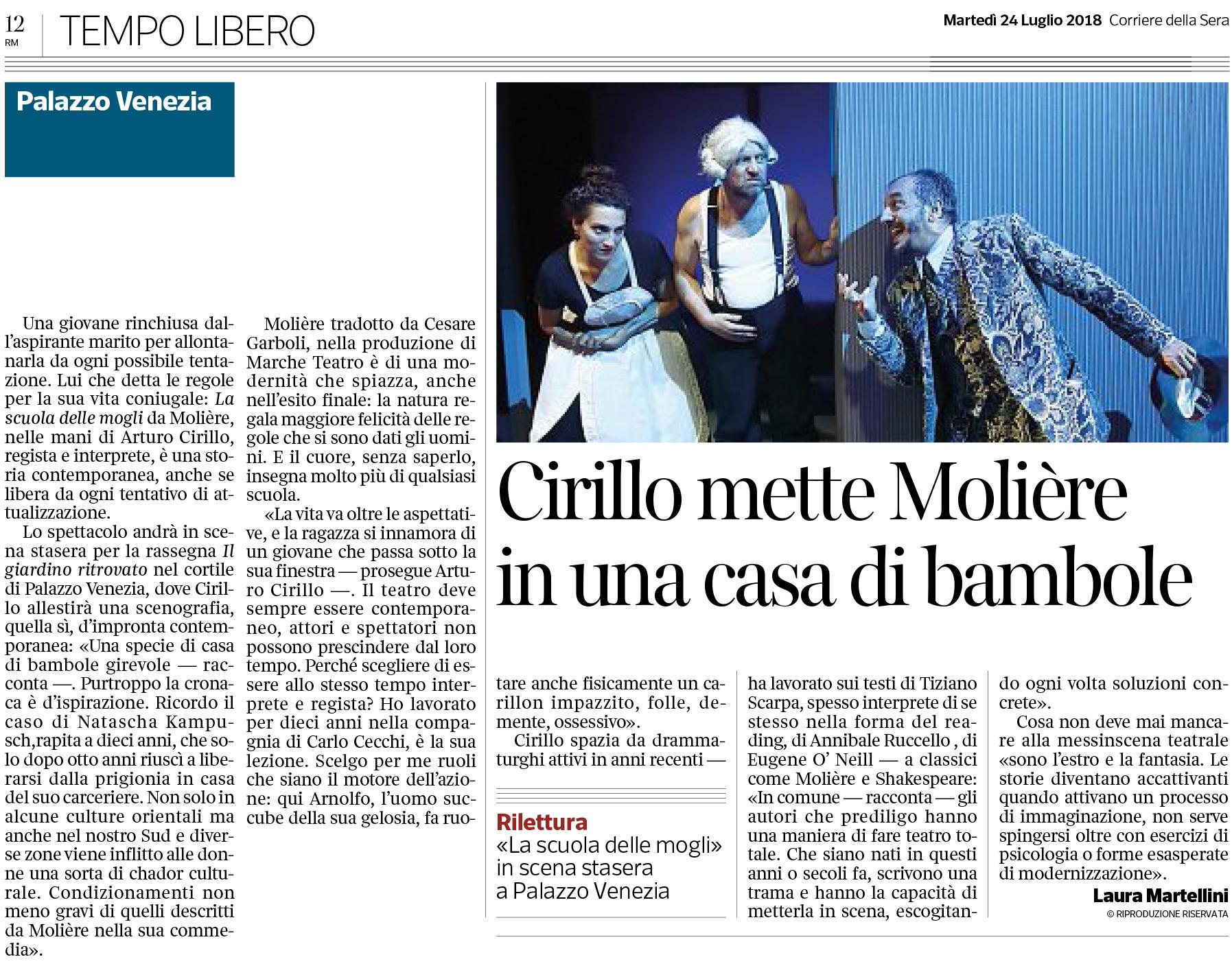 24 lug 2018 cirillo mette moli re in una casa di for Corriere della sera casa