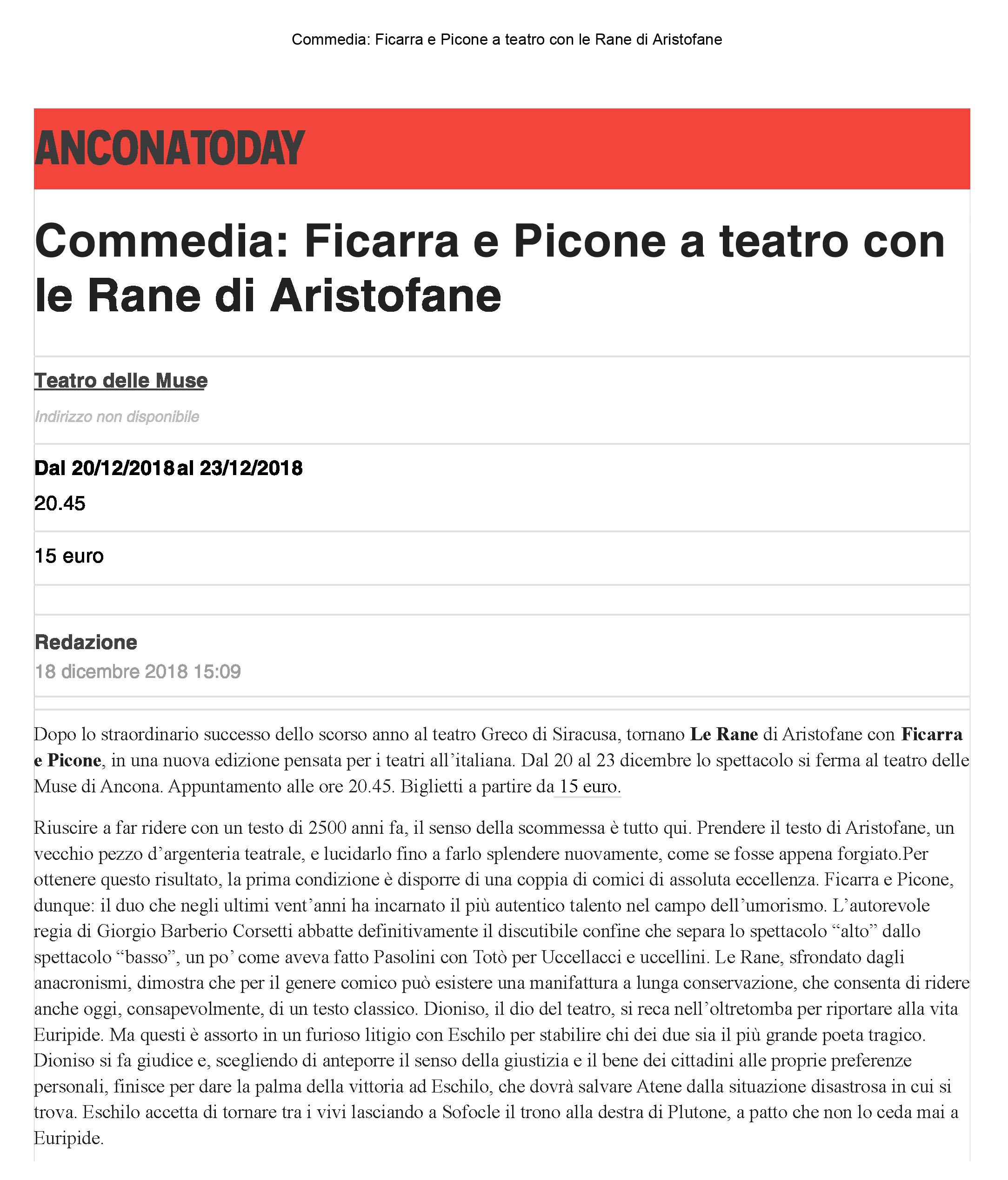 18 dic. 2018 | Commedia: Ficarra e Picone a teatro con le Rane di  Aristofane – AnconaToday – marche teatro