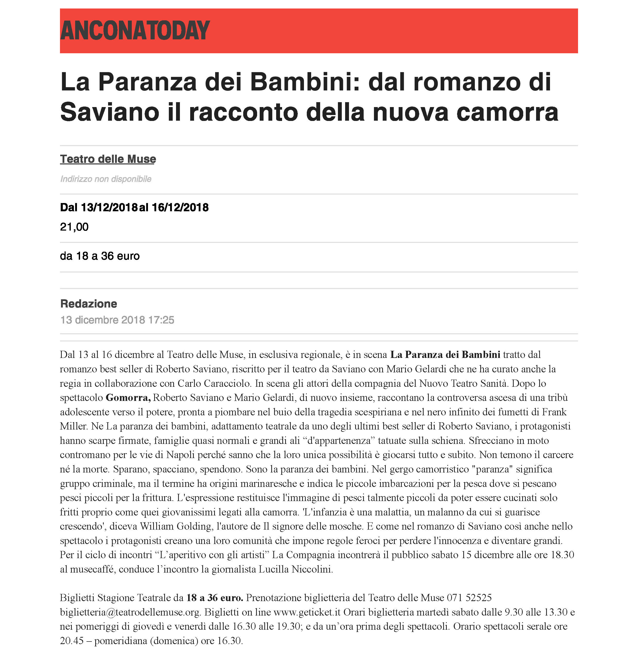 13 dic. 2018 | La Paranza dei Bambini: dal romanzo di Saviano il racconto  della nuova camorra – AnconaToday – marche teatro